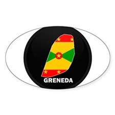 Flag Map of grenada Oval Decal