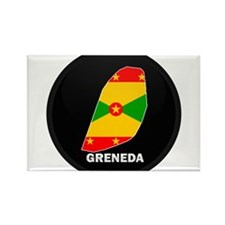 Flag Map of grenada Rectangle Magnet