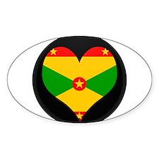 I love grenada Flag Oval Decal