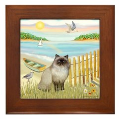 Rowboat / Himalayan Cat Framed Tile