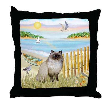 Rowboat / Himalayan Cat Throw Pillow