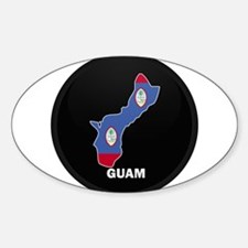 Flag Map of GUAM Oval Decal