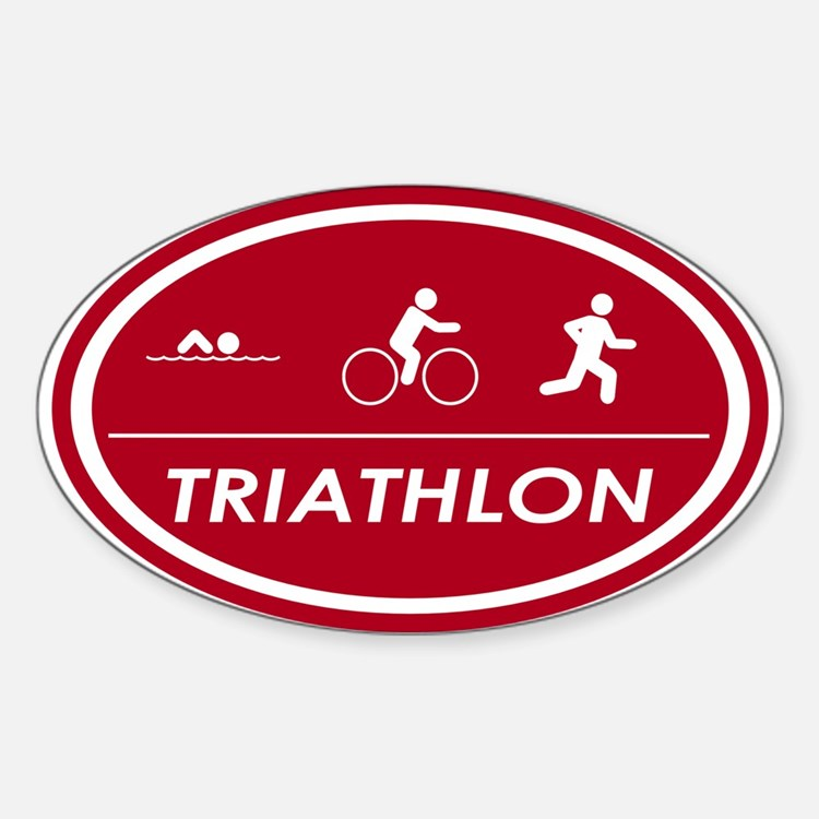 Triathlon Oval Red Oval Decal