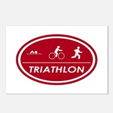 Triathlon Oval Red Postcards (Package of 8)
