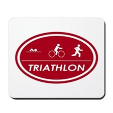 Triathlon Oval Red Mousepad