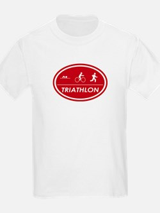 Triathlon Oval Red Kids T-Shirt