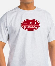 Triathlon Oval Red Ash Grey T-Shirt