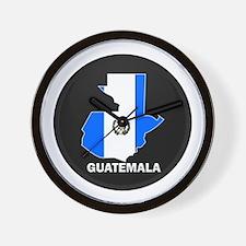 Flag Map of Guatemala Wall Clock