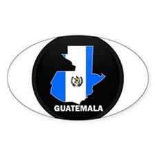 Flag Map of Guatemala Oval Decal
