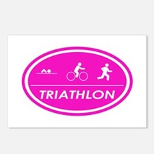 Triathlon Oval Pink Postcards (Package of 8)