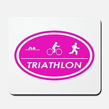 Triathlon Oval Pink Mousepad
