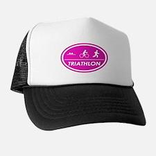 Triathlon Oval Pink Trucker Hat