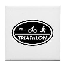 Triathlon Oval Black Tile Coaster