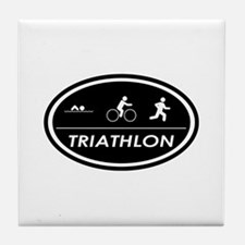 Triathlon Oval Black Tile Coaster