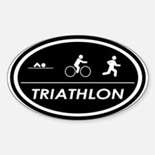 Triathlon Oval Black Oval Decal
