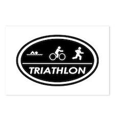 Triathlon Oval Black Postcards (Package of 8)