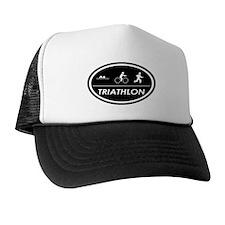 Triathlon Oval Black Trucker Hat