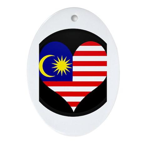 I love malaysia Flag Oval Ornament