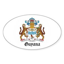 Guyanese Coat of Arms Seal Oval Sticker (10 pk)