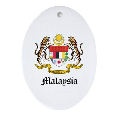 Malaysian Coat of Arms Seal Oval Ornament