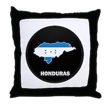 Flag Map of Honduras Throw Pillow