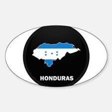 Flag Map of Honduras Oval Decal