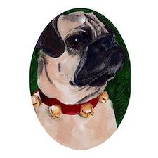 Christmas Pug Oval Ornament