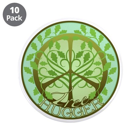 """Peaceful Tree Hugger 3.5"""" Button (10 pack)"""