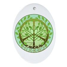 Peaceful Tree Hugger Oval Ornament