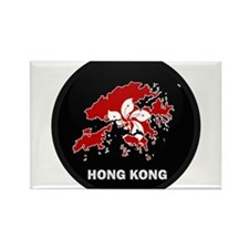 Flag Map of Hong Kong Rectangle Magnet