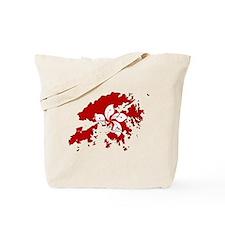 Hong Kong Flag Map Tote Bag