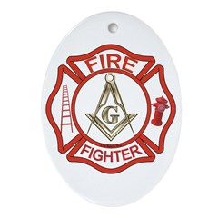 Mason Fire Fighter Oval Ornament