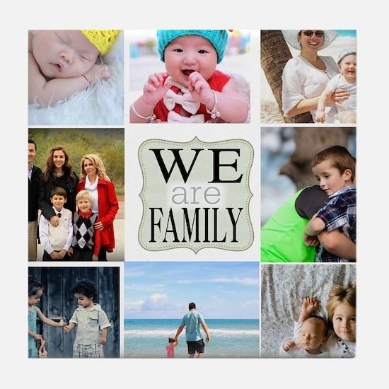 Custom Family Photo Collage Tile Coaster