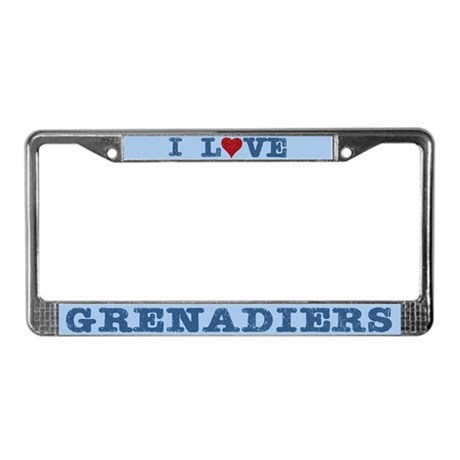 I Love Grenadiers License Plate Frame