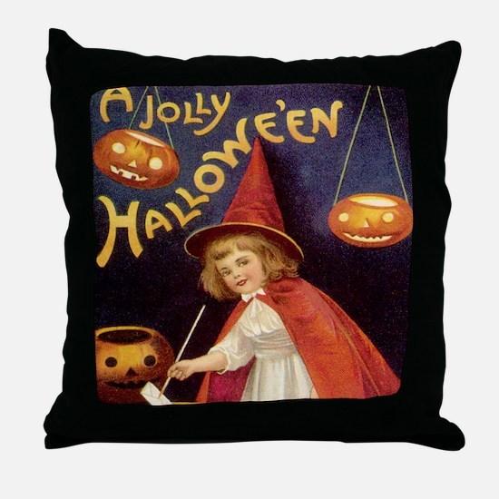 Vintage Halloween Witch Throw Pillow