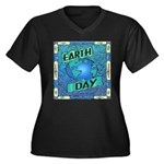 Earth Day 2 Women's Plus Size V-Neck Dark T-Shirt