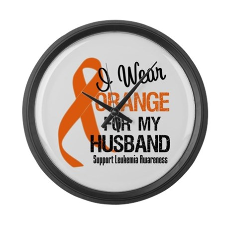 I Wear Orange For My Husband Large Wall Clock