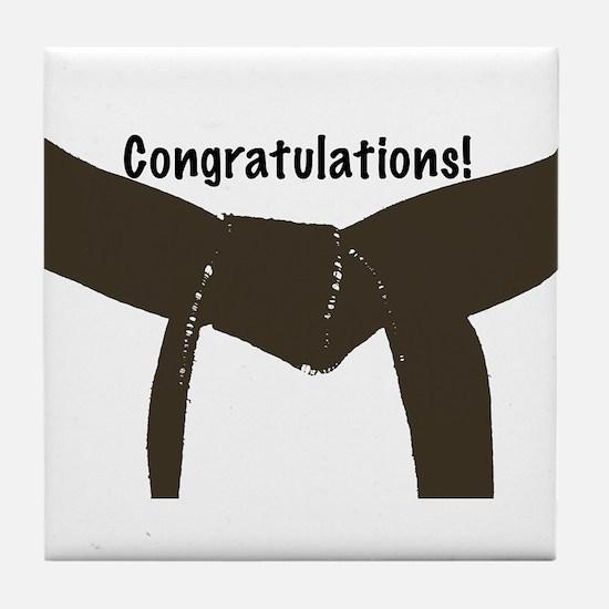 Martial Arts Congrats Brown Belt Tile Coaster