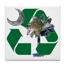 Earth Palmetto in Recycle Logo Tile Coaster
