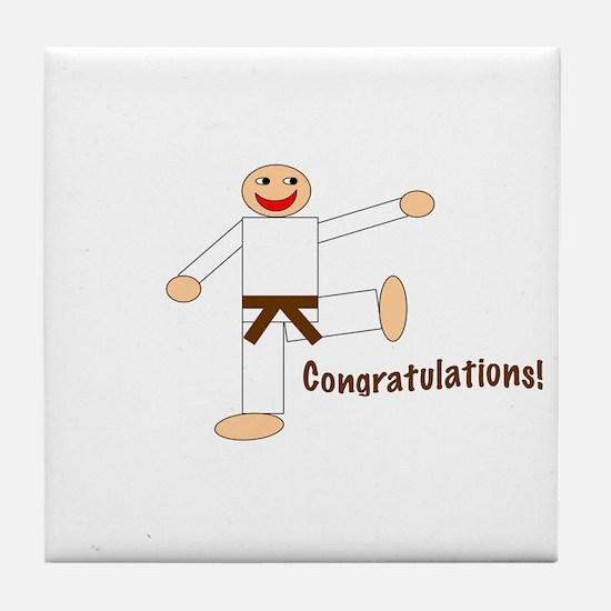 Brown Belt Congratulations Tile Coaster