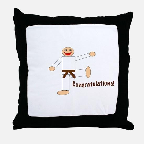 Brown Belt Congratulations Throw Pillow