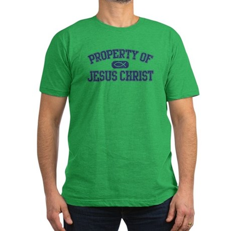 """""""Property of Christ"""" (navy) Men's Fitted T-Shirt ("""
