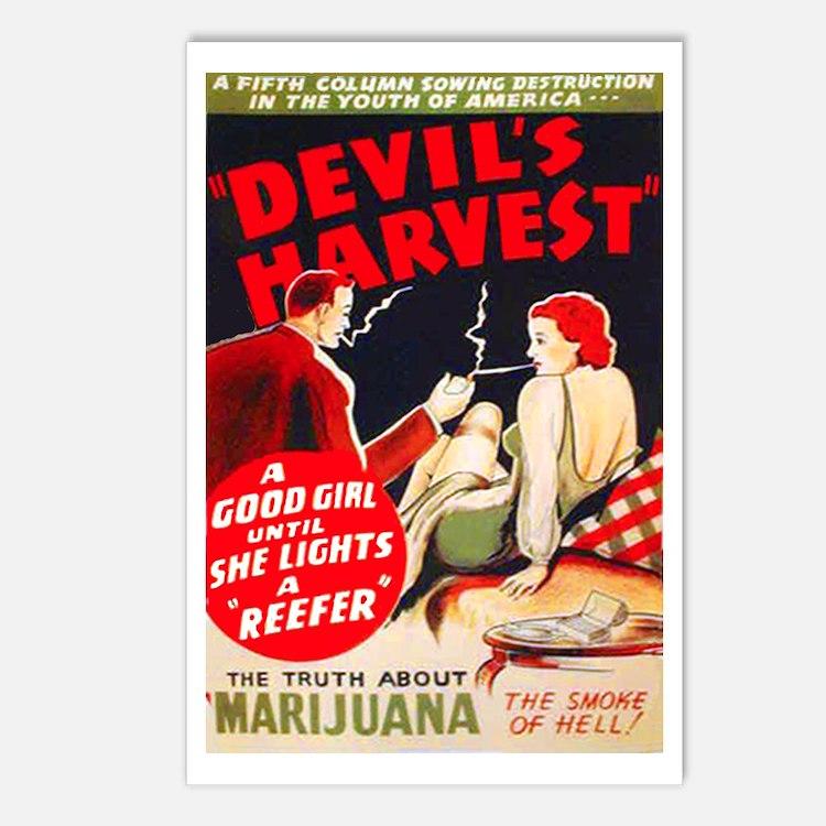 Marijuana Devil's Harvest Pot Postcards (Package o