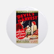 Marijuana Devil's Harvest Pot Ornament (Round)
