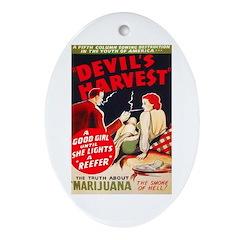 Marijuana Devil's Harvest Pot Oval Ornament