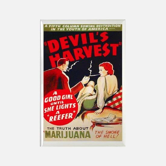 Marijuana Devil's Harvest Pot Rectangle Magnet