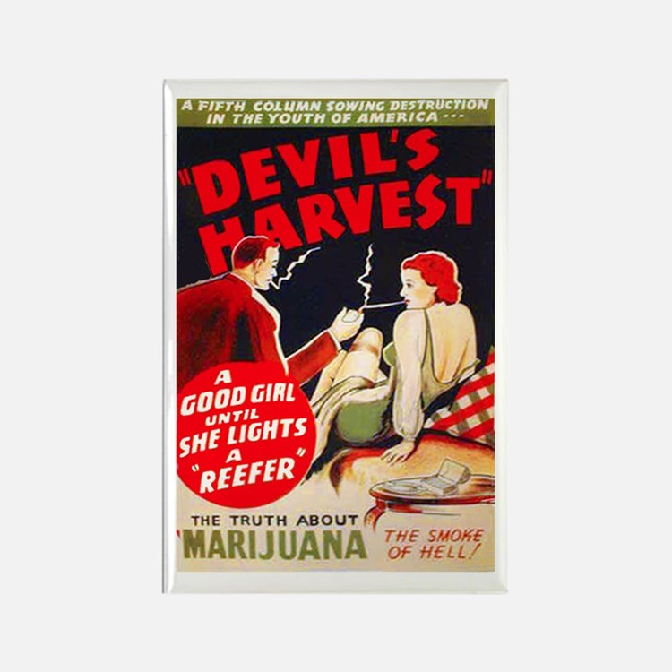 Marijuana Devil's Harvest Pot Rectangle Magnet