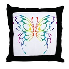 Rainbow Wings Throw Pillow
