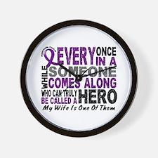 Hero Comes Along Wife Pancreatic Cancer Wall Clock