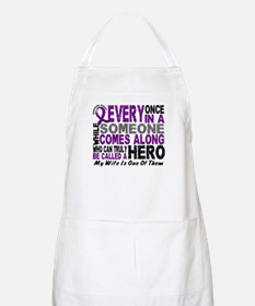Hero Comes Along Wife Pancreatic Cancer BBQ Apron